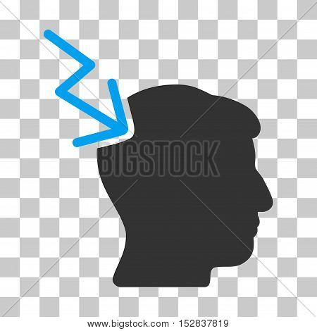 Blue And Gray Head Electric Strike interface toolbar pictogram. Vector pictogram style is a flat bicolor symbol on chess transparent background.