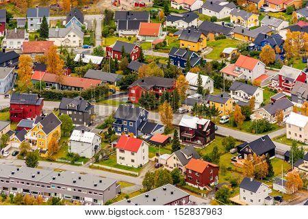 Aerial view of Tromso houses, Norway
