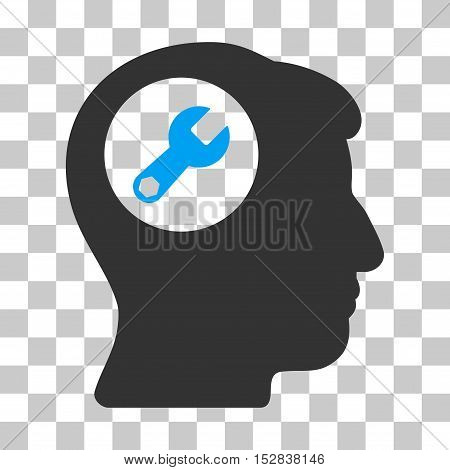 Blue And Gray Head Wrench toolbar pictogram. Vector pictograph style is a flat bicolor symbol on chess transparent background.