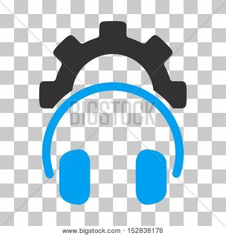 Blue And Gray Headphones Configuration Gear interface toolbar pictogram. Vector pictograph style is a flat bicolor symbol on chess transparent background.