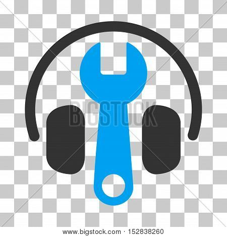Blue And Gray Headphones Tuning Wrench toolbar pictogram. Vector pictogram style is a flat bicolor symbol on chess transparent background.