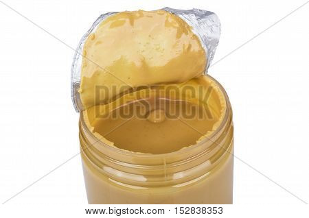 Unpacked Plastic Jar With Peanut Butter Isolated On White