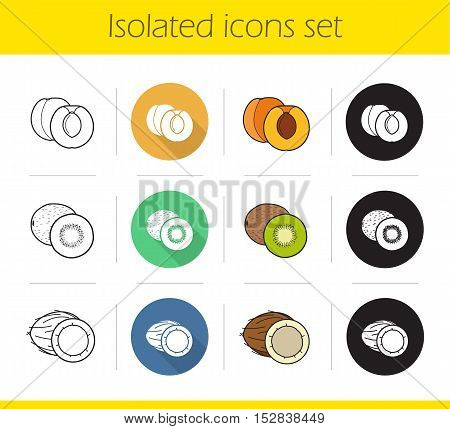 Fruit icons set. Flat design, linear, black and color styles. Cutted apricot, halved kiwi fruit, open coconut. Isolated vector illustrations