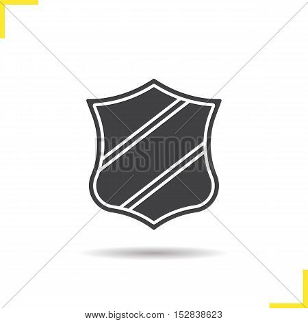 Heraldic shield icon. Drop shadow silhouette symbol. Security shield clip art with ribbon. Negative space. Vector isolated illustration