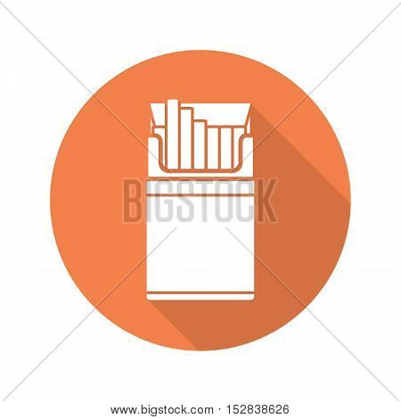 Cigarette pack flat design long shadow icon. Vector silhouette symbol