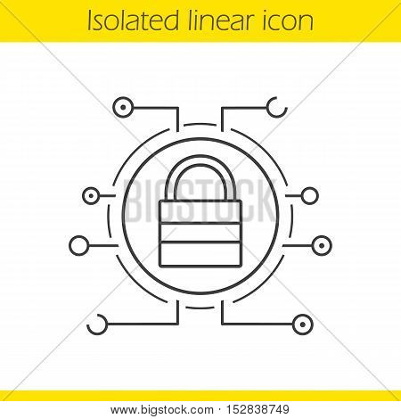 Lock linear icon. Thin line illustration. Digital access. Closed padlock in microchip pathways contour symbol. Cyber security. Vector isolated outline drawing