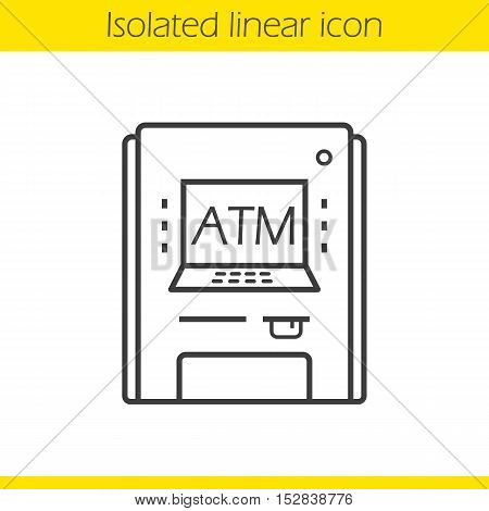 Atm machine linear icon. Thin line illustration. Contour symbol. Bank cash machine. Vector isolated outline drawing