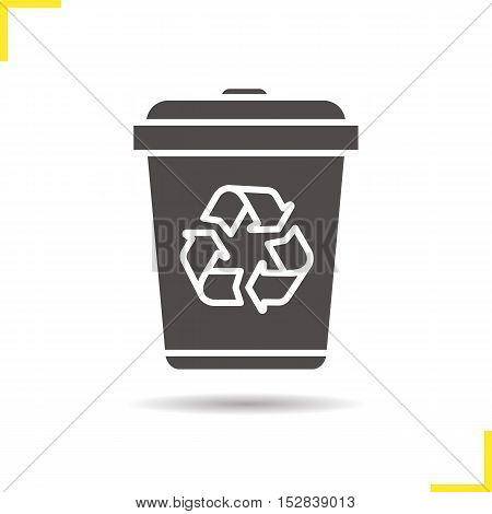 Recycle bin icon. Drop shadow silhouette symbol. Dustbin. Wastebasket. Negative space. Vector isolated illustration