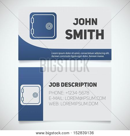 Business card print template with bank vault logo. Easy edit. Security deposit box. Stationery design concept. Vector illustration