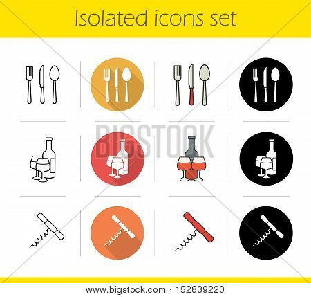 Kitchen items icons set. Flat design, linear, black and color styles. Fork, spoon and table knife, cutlery set, wine bottle and glasses, corkscrew. Kitchenware. Isolated vector illustrations