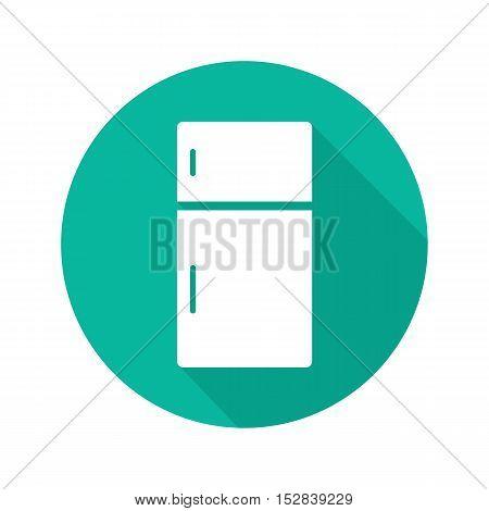 Fridge flat design long shadow icon. Refrigerator. Vector silhouette symbol