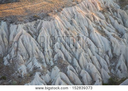 High angle view of the rocky ground in Cappadocia Turkey.