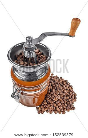 coffee mill with coffee beans on white isolated background