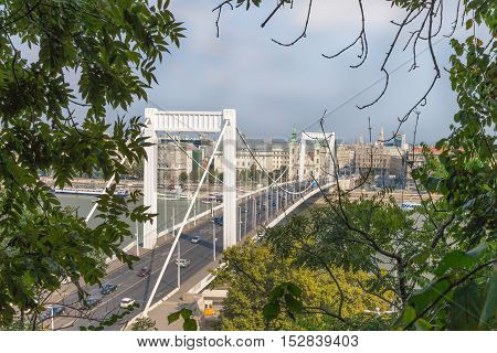 Elisabeth Bridge in Budapest, Hungary. Beautiful Budapest bridges. Best Bridge of Budapest. Bridge over the Danube. Nice view.