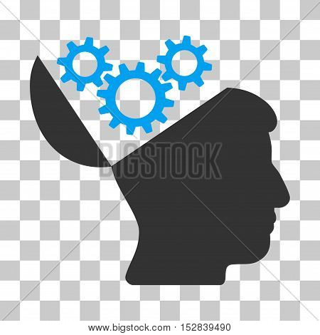 Blue And Gray Open Mind Gears interface toolbar icon. Vector pictograph style is a flat bicolor symbol on chess transparent background.