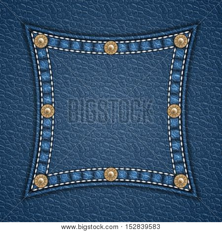 Square patch with rivets on leather background. Vector illustration