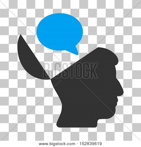 Blue And Gray Open Mind Opinion toolbar icon. Vector pictograph style is a flat bicolor symbol on chess transparent background.