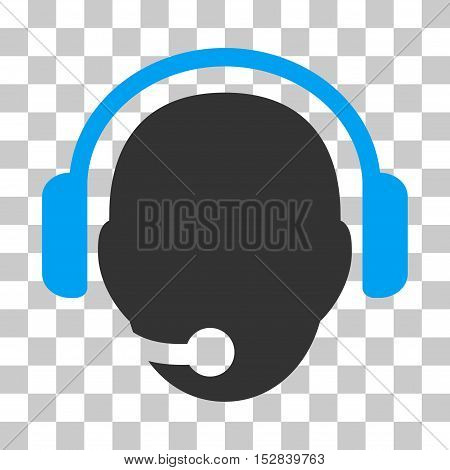 Blue And Gray Operator Head interface icon. Vector pictogram style is a flat bicolor symbol on chess transparent background.
