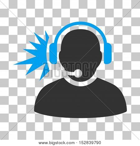 Blue And Gray Operator Headphones Signal interface pictogram. Vector pictogram style is a flat bicolor symbol on chess transparent background.