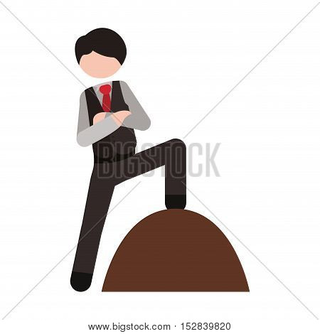avatar businessman wearing suit and tie with winner position over white background. vector illustration