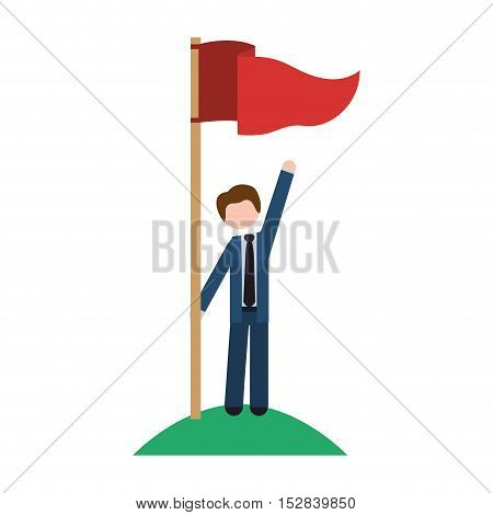 red flag pole and avatar businessman wearing suit and tie with winner position over white background. vector illustration