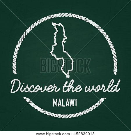 White Chalk Texture Hipster Insignia With Republic Of Malawi Map On A Green Blackboard. Grunge Rubbe