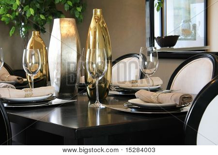 Elegantly set dining room table.