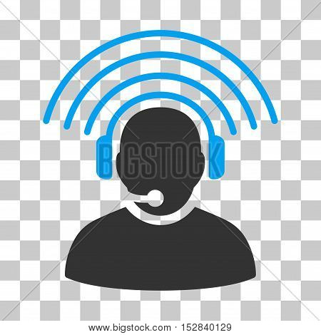 Blue And Gray Operator Radio Signal interface toolbar pictogram. Vector pictograph style is a flat bicolor symbol on chess transparent background.