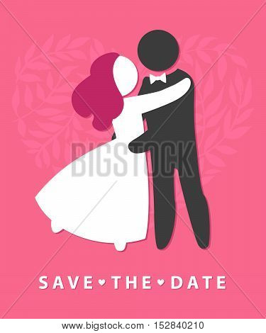 WEDDING ICON wedding invitation card template vector illustration.