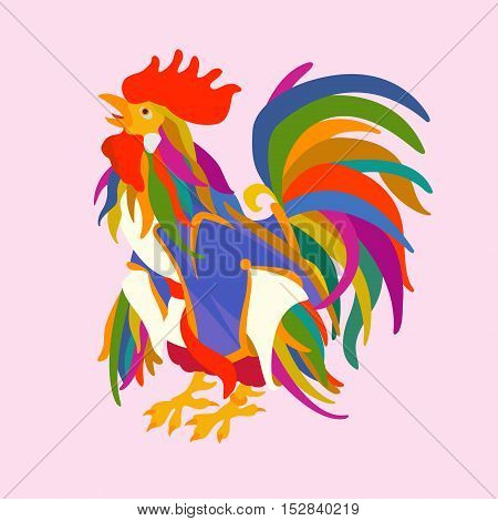 rooster vector illustration style Flat color profile
