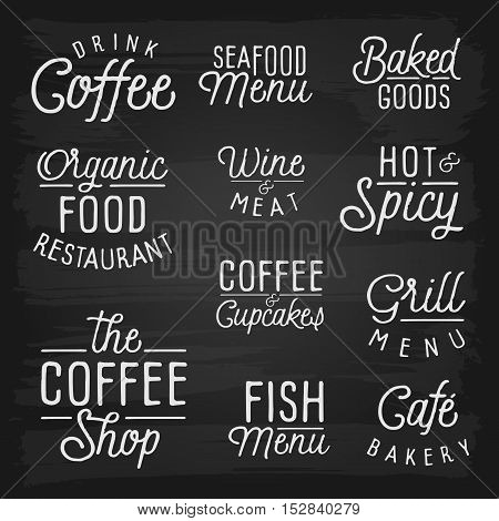 Hand drawn lettering slogans for cafe and restaurant. Vector illustration.