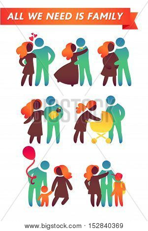 Happy family icon multicolored set in simple figures.  Children, dad and mom stand together. Vector can be used as logotype