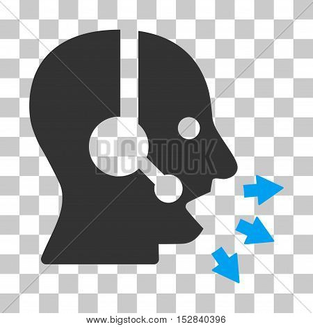 Blue And Gray Operator Speak toolbar pictogram. Vector pictograph style is a flat bicolor symbol on chess transparent background.