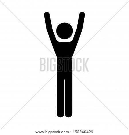 avatar man with arms up winner position silhouette. vector illustration
