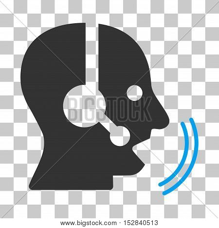 Blue And Gray Operator Speech toolbar icon. Vector pictogram style is a flat bicolor symbol on chess transparent background.
