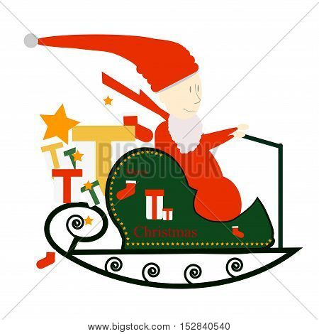 Vector Illustration of Santa Claus Driving in a Sledge.