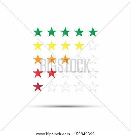 Set of red orange yellow and green rating stars isolated on white background vector illustration