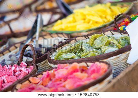 Sweets stalls at Almossassa market. Marvao Portugal