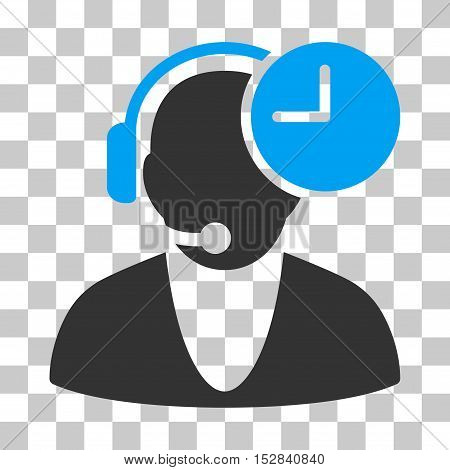 Blue And Gray Operator Time interface toolbar pictogram. Vector pictogram style is a flat bicolor symbol on chess transparent background.