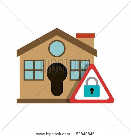 brown house with padlock sign icon. security system design. colorful design. vector illustration