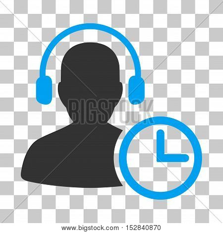 Blue And Gray Operator Time interface toolbar icon. Vector pictograph style is a flat bicolor symbol on chess transparent background.