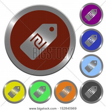 Set of color glossy coin-like new Shekel price label buttons