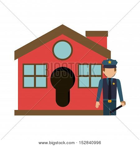 red house with police man icon. security system design. colorful design. vector illustration