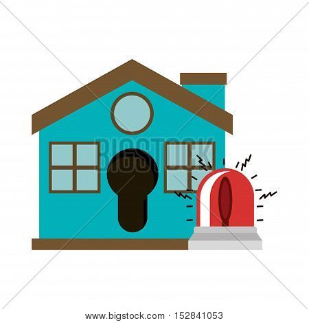 blue house with siren alarm icon. security system design. colorful design. vector illustration