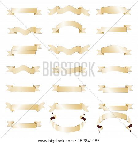 Golden ribbon banner from present ribbon. Isolated on white background.