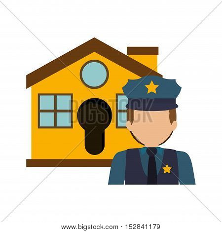 yellow house with police man icon. security system design. colorful design. vector illustration