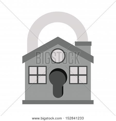 gray house with padlock shape icon. security system design. colorful design. vector illustration