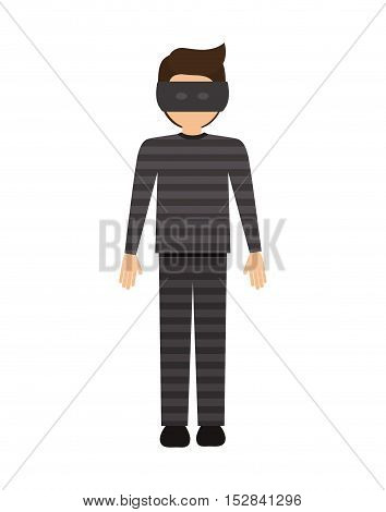 avatar man criminal thief with eye mask over white background. vector illustration