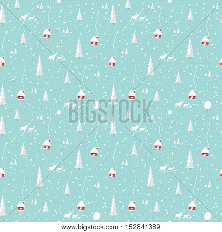 Merry christmas deer, Happy New Year Design Set, seamless pattern Vector illustration EPS10.