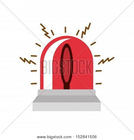 emergency red siren device over white background. vector illustration